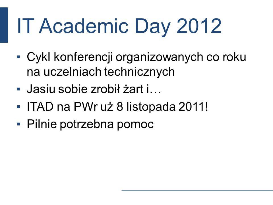 IT Academic Day 2012 Cykl konferencji organizowanych co roku na uczelniach technicznych. Jasiu sobie zrobił żart i…