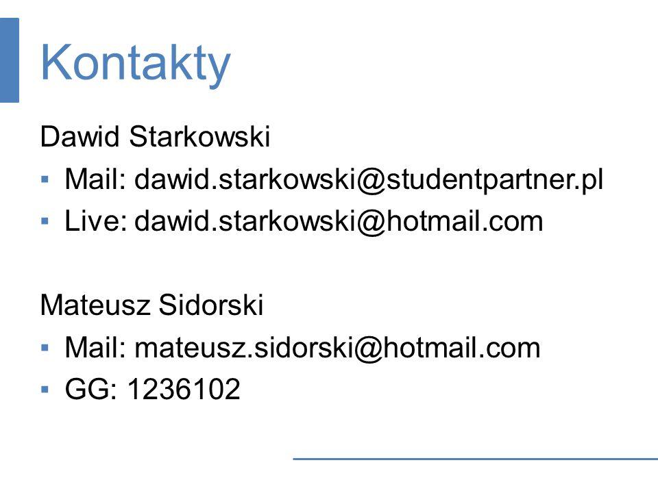 Kontakty Dawid Starkowski Mail: dawid.starkowski@studentpartner.pl
