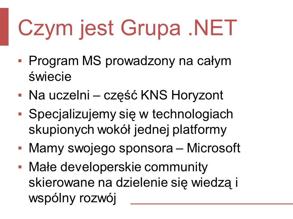 Czym jest Grupa .NET Program MS prowadzony na całym świecie
