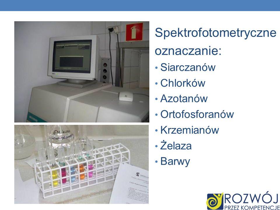 Spektrofotometryczne oznaczanie: