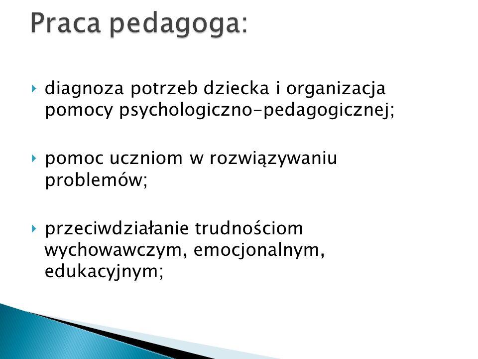Praca pedagoga:diagnoza potrzeb dziecka i organizacja pomocy psychologiczno-pedagogicznej; pomoc uczniom w rozwiązywaniu problemów;