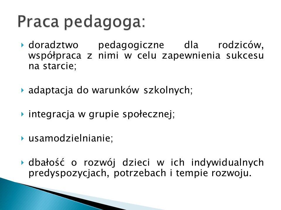 Praca pedagoga:doradztwo pedagogiczne dla rodziców, współpraca z nimi w celu zapewnienia sukcesu na starcie;
