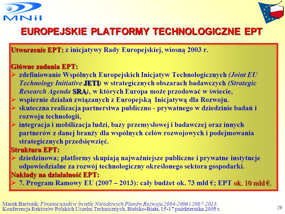 EUROPEJSKIE PLATFORMY TECHNOLOGICZNE EPT