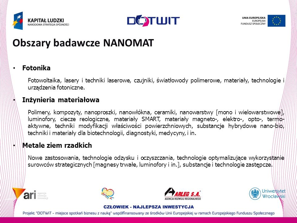 Obszary badawcze NANOMAT
