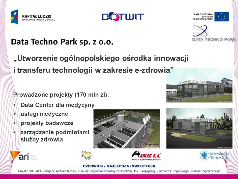"""Data Techno Park sp. z o.o. """"Utworzenie ogólnopolskiego ośrodka innowacji i transferu technologii w zakresie e-zdrowia"""
