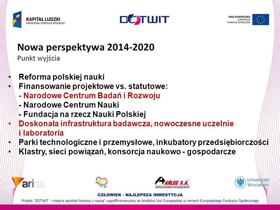 Nowa perspektywa 2014-2020 Punkt wyjścia Reforma polskiej nauki