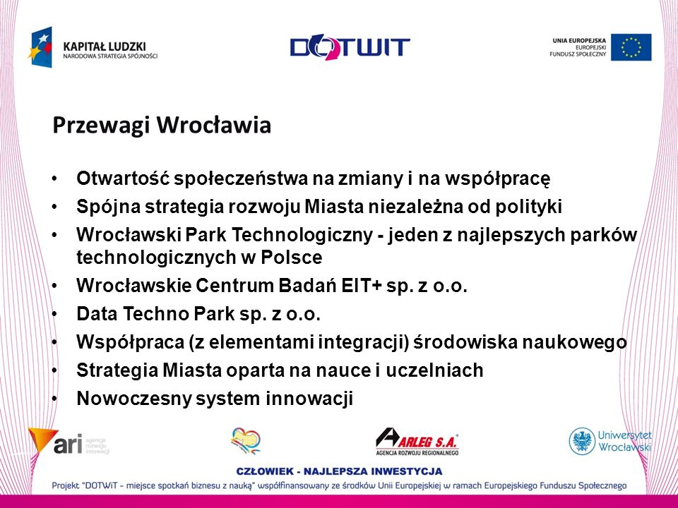 Przewagi Wrocławia Otwartość społeczeństwa na zmiany i na współpracę