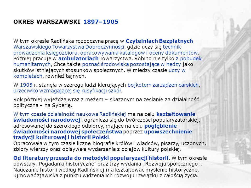 OKRES WARSZAWSKI 1897–1905