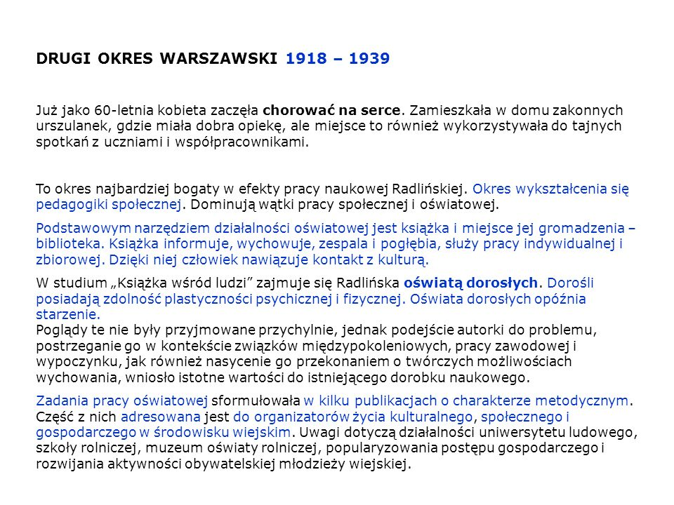 DRUGI OKRES WARSZAWSKI 1918 – 1939