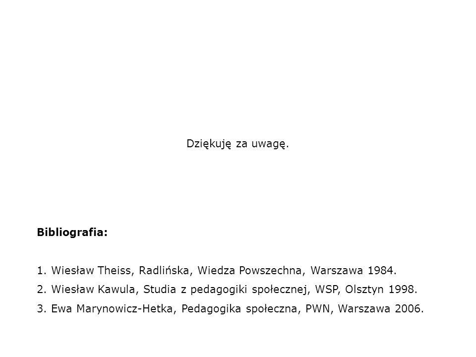 Dziękuję za uwagę. Bibliografia: 1. Wiesław Theiss, Radlińska, Wiedza Powszechna, Warszawa 1984.