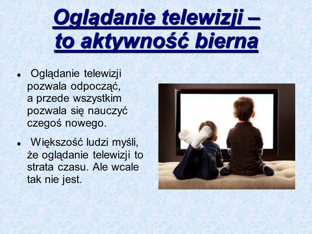 Oglądanie telewizji – to aktywność bierna