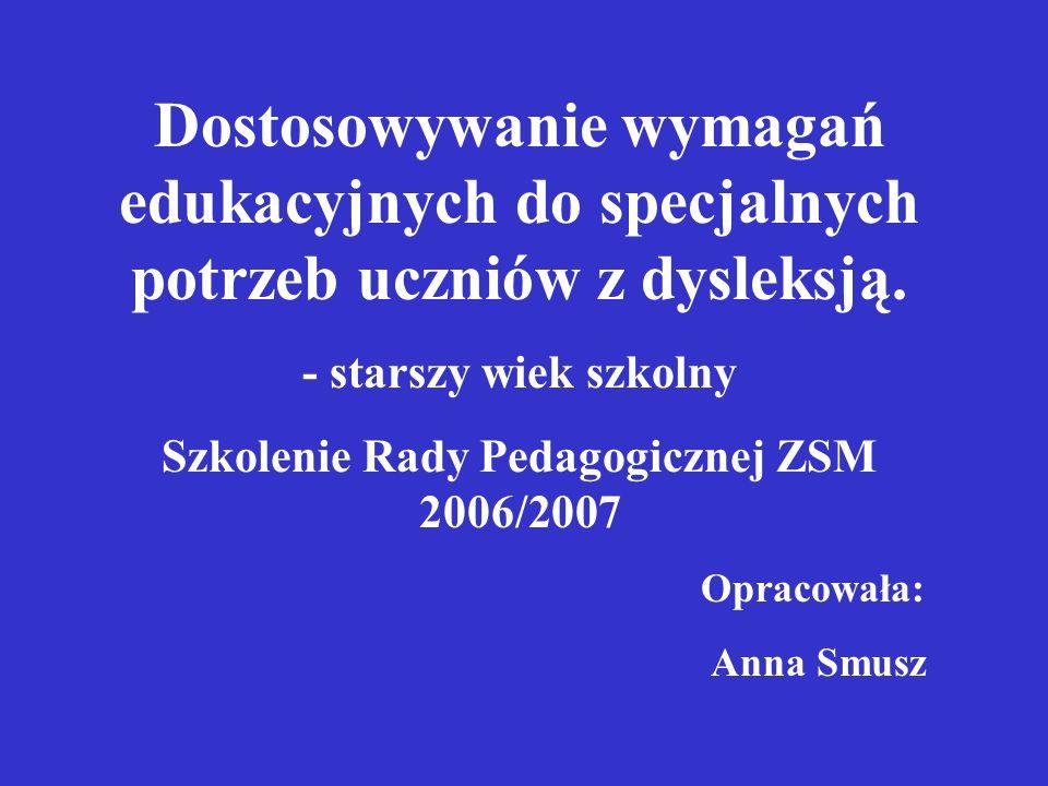 Szkolenie Rady Pedagogicznej ZSM 2006/2007
