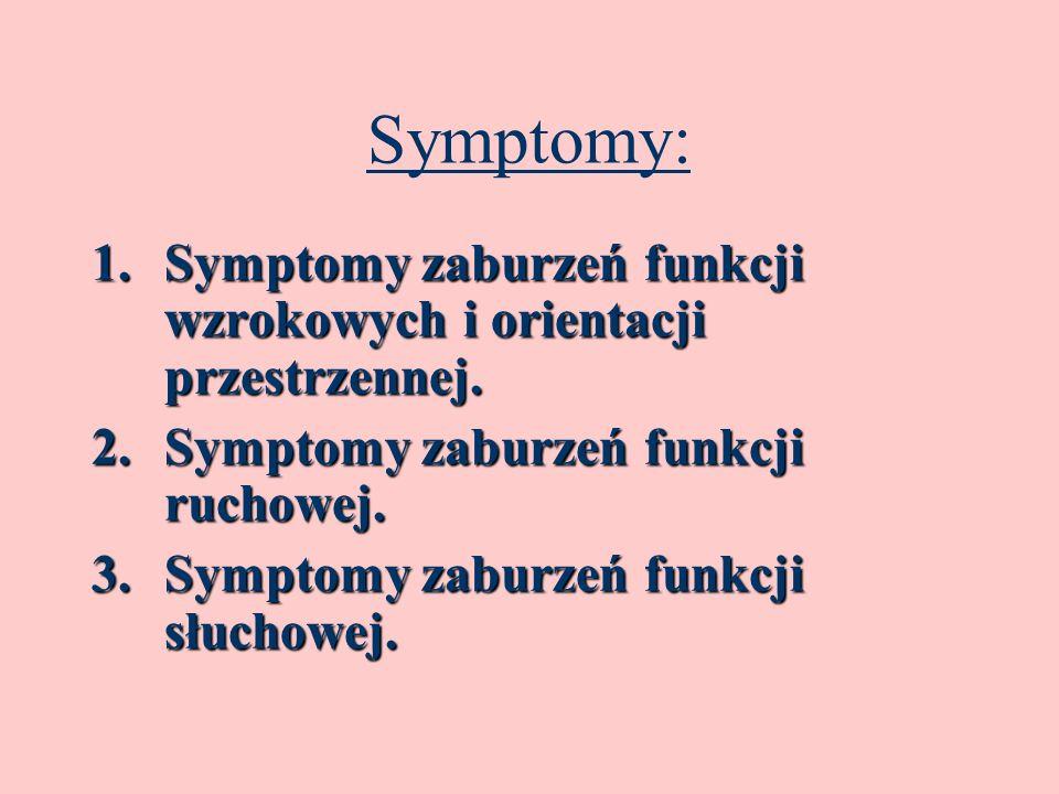 Symptomy:Symptomy zaburzeń funkcji wzrokowych i orientacji przestrzennej. Symptomy zaburzeń funkcji ruchowej.
