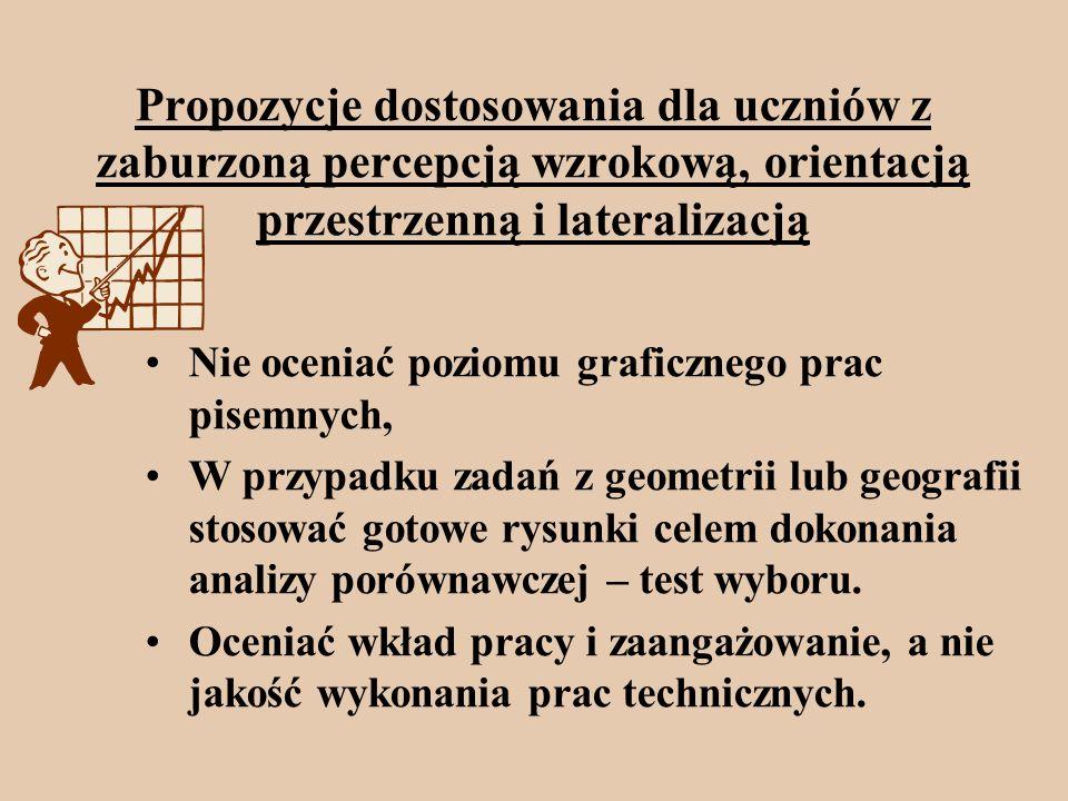 Propozycje dostosowania dla uczniów z zaburzoną percepcją wzrokową, orientacją przestrzenną i lateralizacją