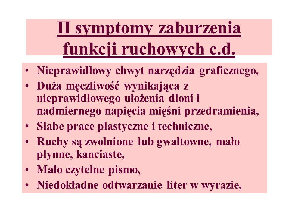 II symptomy zaburzenia funkcji ruchowych c.d.