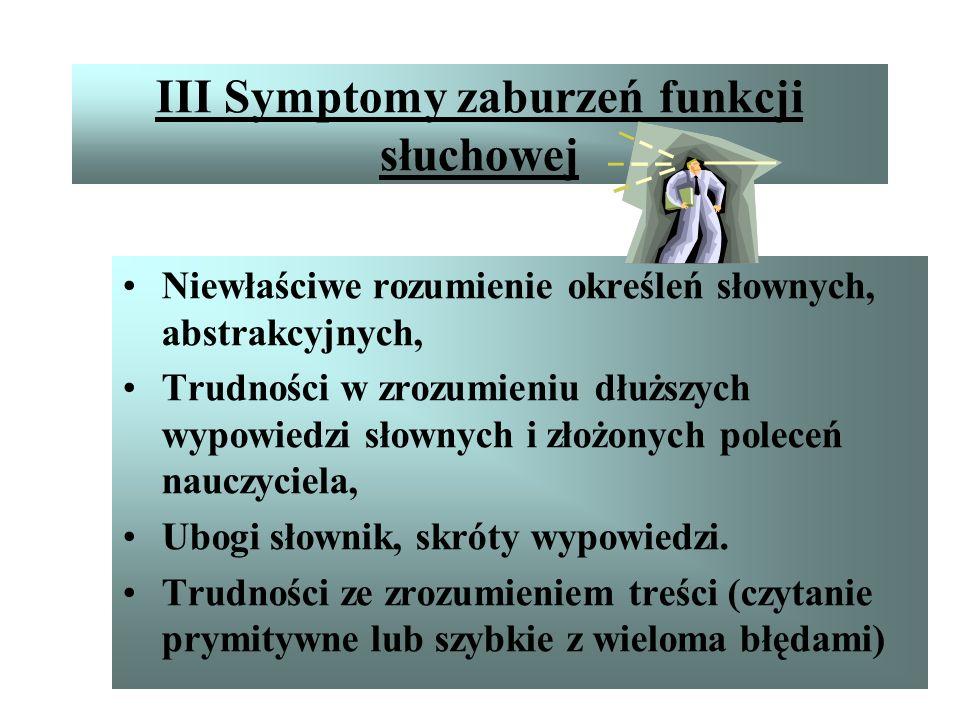 III Symptomy zaburzeń funkcji słuchowej