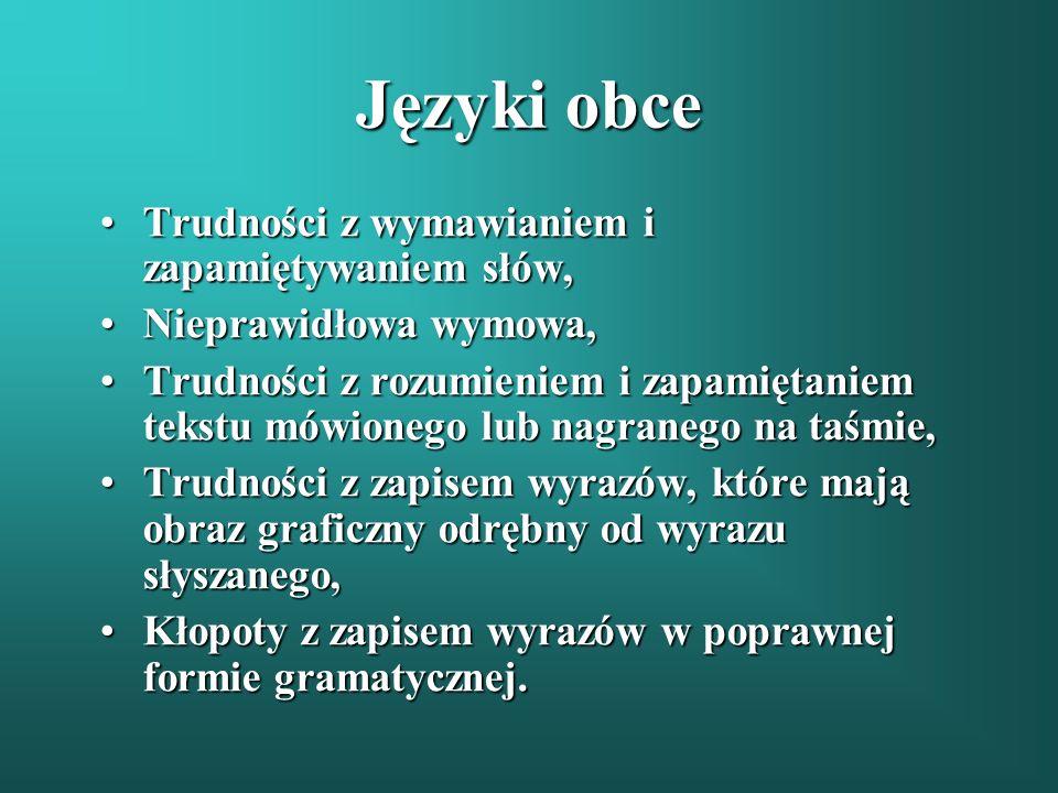 Języki obce Trudności z wymawianiem i zapamiętywaniem słów,