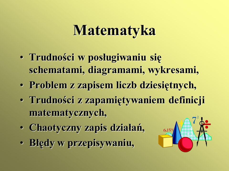 Matematyka Trudności w posługiwaniu się schematami, diagramami, wykresami, Problem z zapisem liczb dziesiętnych,