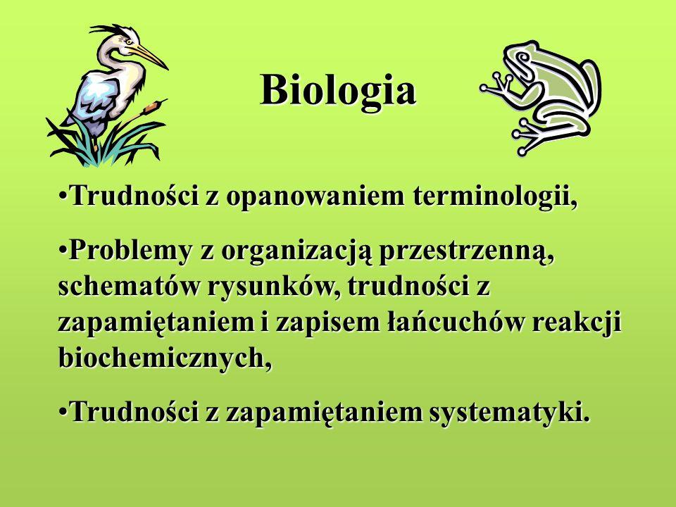 Biologia Trudności z opanowaniem terminologii,