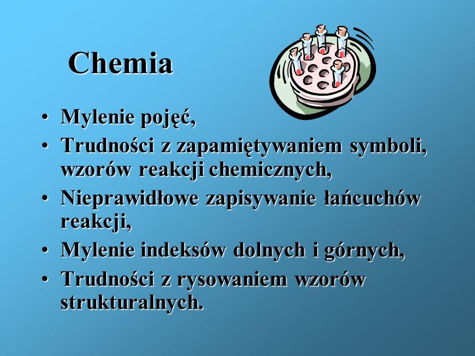 ChemiaMylenie pojęć, Trudności z zapamiętywaniem symboli, wzorów reakcji chemicznych, Nieprawidłowe zapisywanie łańcuchów reakcji,