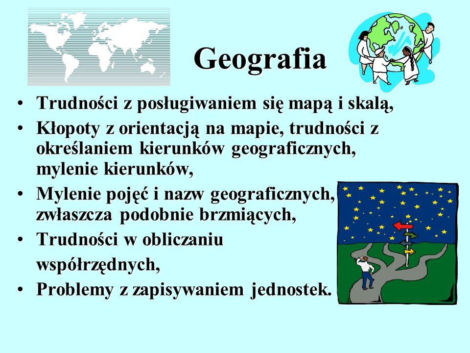 Geografia Trudności z posługiwaniem się mapą i skalą,