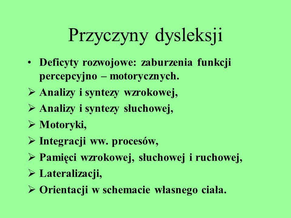Przyczyny dysleksjiDeficyty rozwojowe: zaburzenia funkcji percepcyjno – motorycznych. Analizy i syntezy wzrokowej,