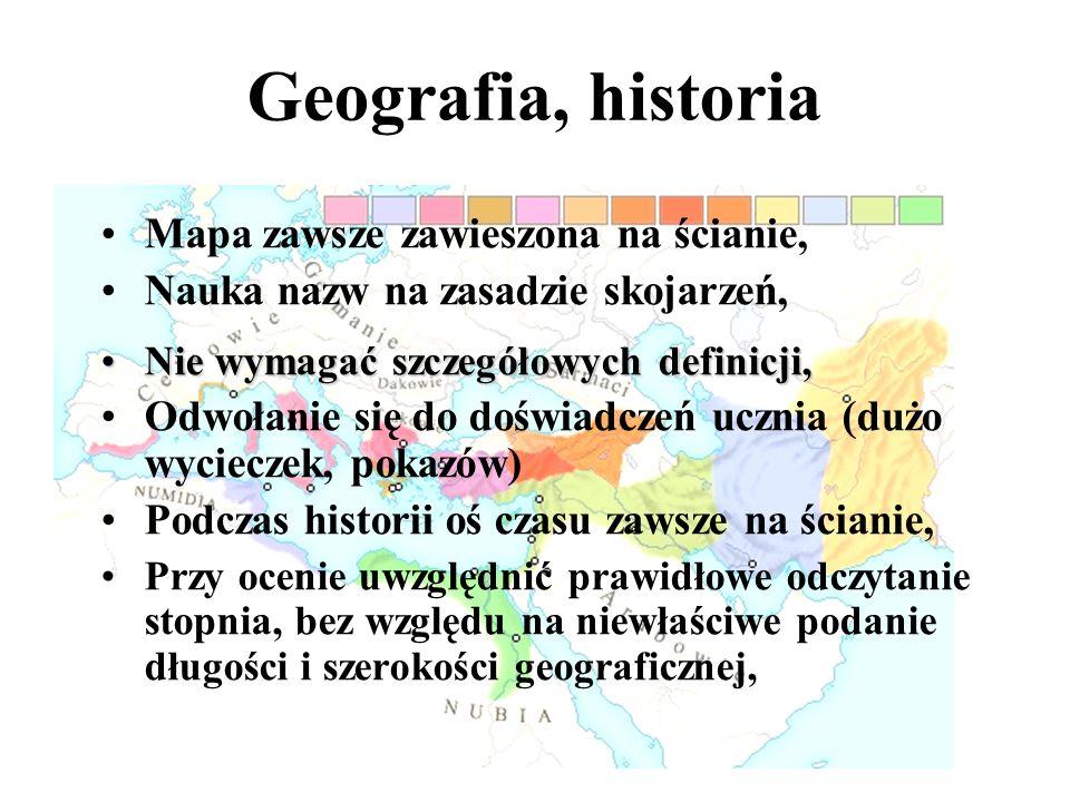 Geografia, historia Mapa zawsze zawieszona na ścianie,