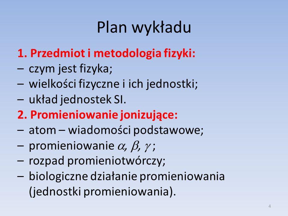 Plan wykładu 1. Przedmiot i metodologia fizyki: czym jest fizyka;