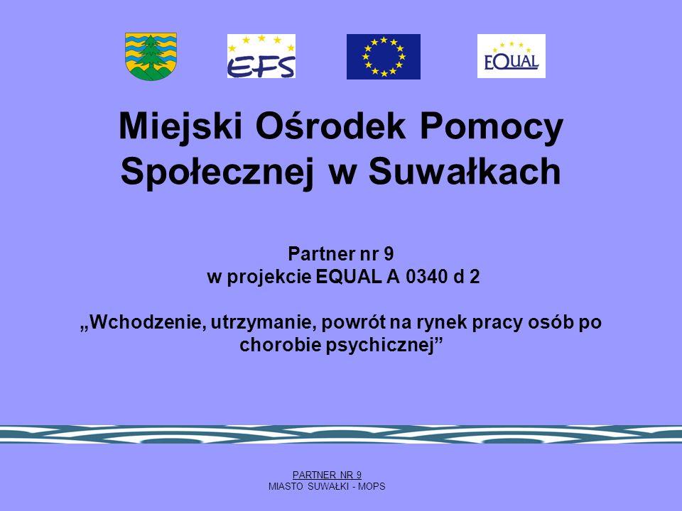 """Miejski Ośrodek Pomocy Społecznej w Suwałkach Partner nr 9 w projekcie EQUAL A 0340 d 2 """"Wchodzenie, utrzymanie, powrót na rynek pracy osób po chorobie psychicznej"""