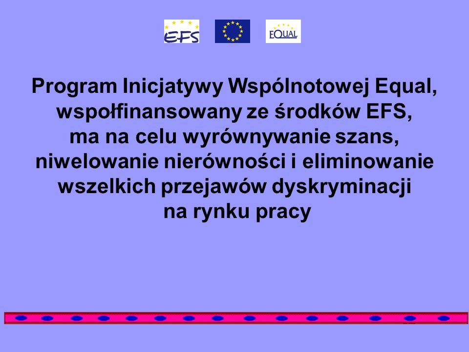 Program Inicjatywy Wspólnotowej Equal, wspołfinansowany ze środków EFS, ma na celu wyrównywanie szans, niwelowanie nierówności i eliminowanie wszelkich przejawów dyskryminacji na rynku pracy