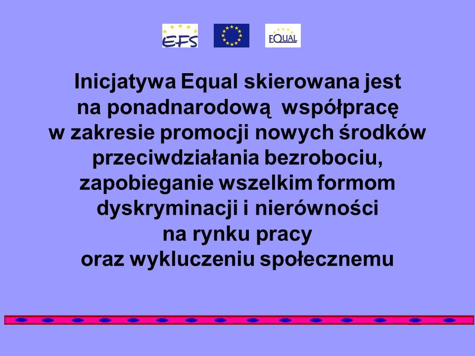 Inicjatywa Equal skierowana jest na ponadnarodową współpracę w zakresie promocji nowych środków przeciwdziałania bezrobociu, zapobieganie wszelkim formom dyskryminacji i nierówności na rynku pracy oraz wykluczeniu społecznemu