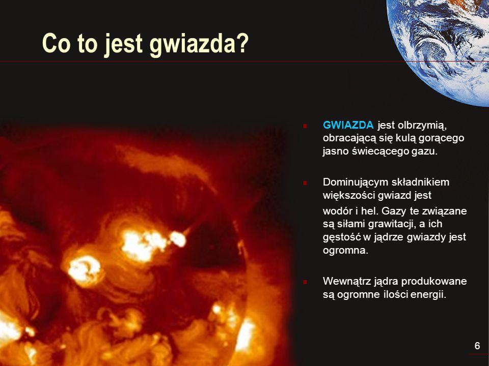 Co to jest gwiazda GWIAZDA jest olbrzymią, obracającą się kulą gorącego jasno świecącego gazu. Dominującym składnikiem większości gwiazd jest.