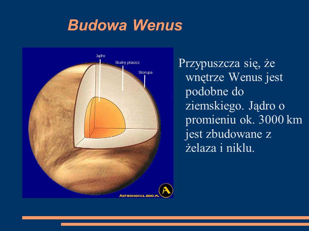 Budowa Wenus Przypuszcza się, że wnętrze Wenus jest podobne do ziemskiego.