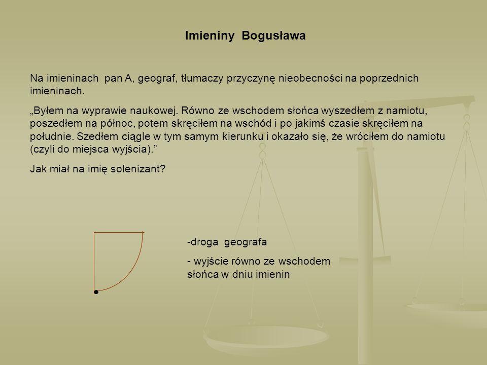 Imieniny Bogusława Na imieninach pan A, geograf, tłumaczy przyczynę nieobecności na poprzednich imieninach.