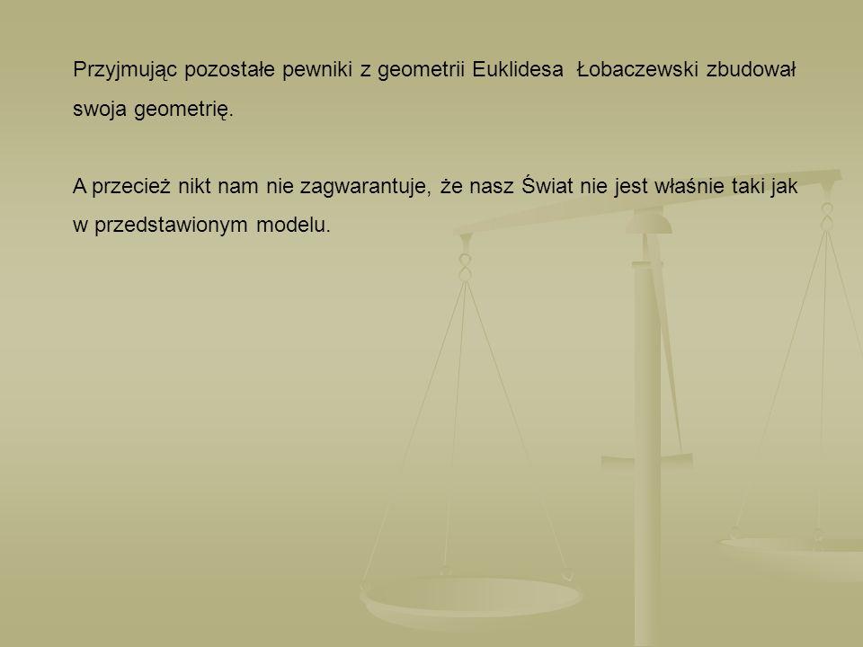 Przyjmując pozostałe pewniki z geometrii Euklidesa Łobaczewski zbudował