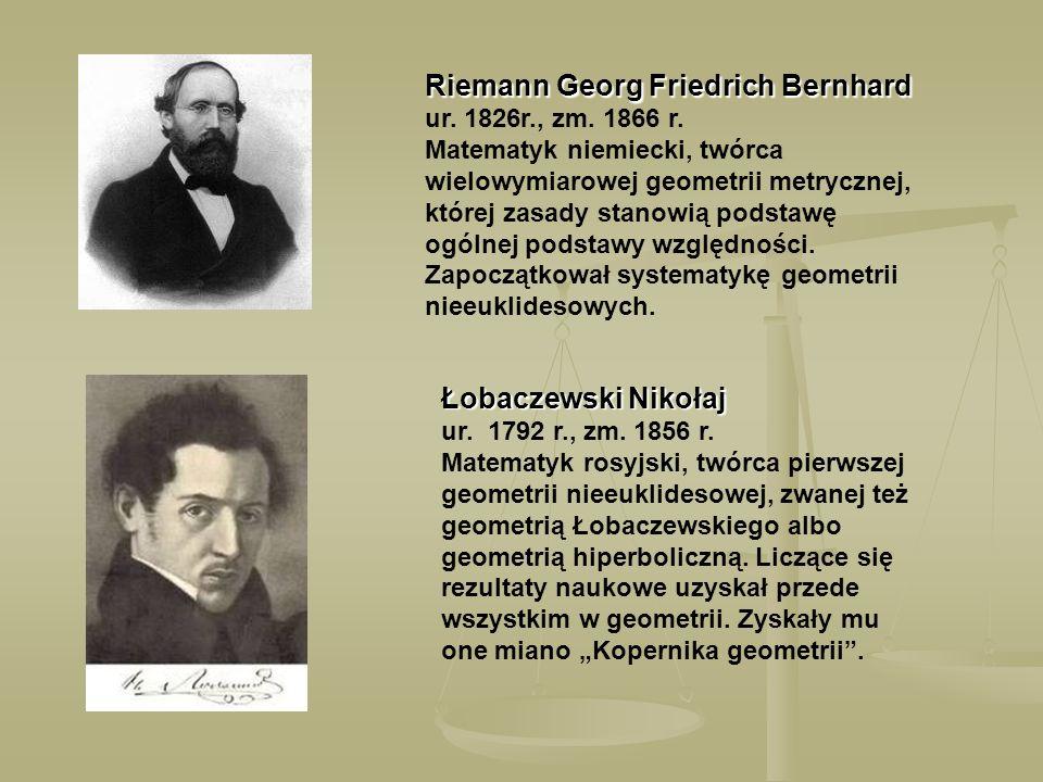Riemann Georg Friedrich Bernhard ur. 1826r. , zm. 1866 r