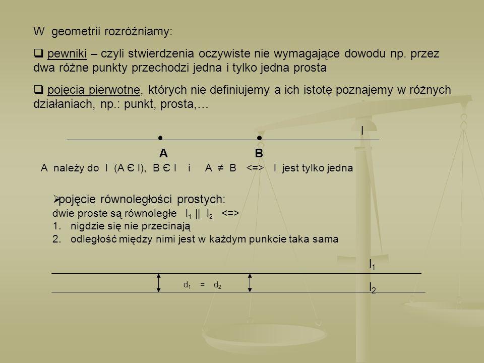 W geometrii rozróżniamy: