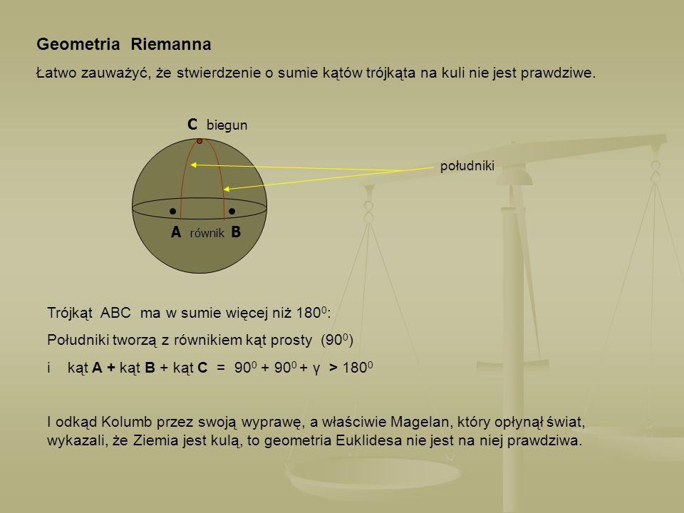 Geometria Riemanna Łatwo zauważyć, że stwierdzenie o sumie kątów trójkąta na kuli nie jest prawdziwe.
