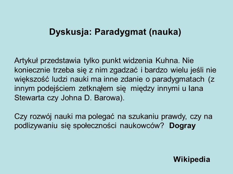 Dyskusja: Paradygmat (nauka)