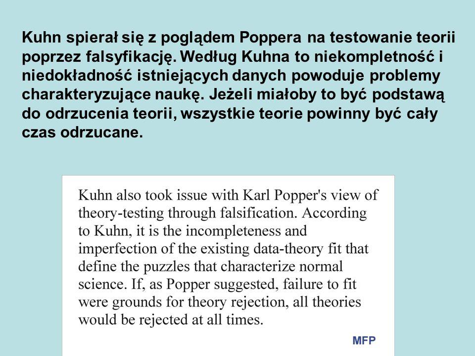 Kuhn spierał się z poglądem Poppera na testowanie teorii poprzez falsyfikację.