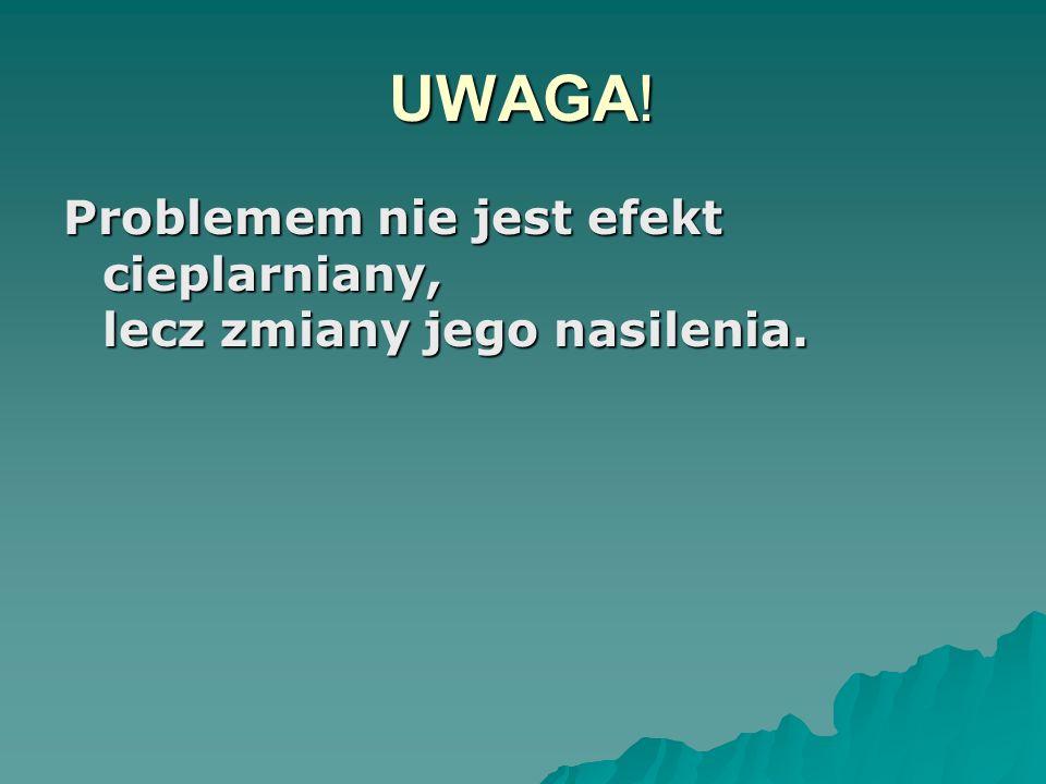 UWAGA! Problemem nie jest efekt cieplarniany, lecz zmiany jego nasilenia.
