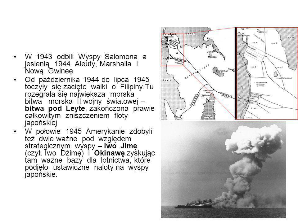 W 1943 odbili Wyspy Salomona a jesienią 1944 Aleuty, Marshalla i Nową Gwineę
