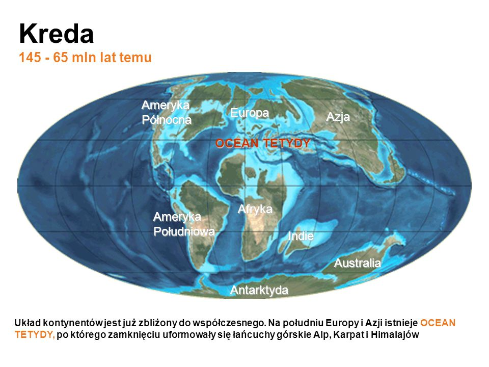 Kreda 145 - 65 mln lat temu Ameryka Północna Europa Azja OCEAN TETYDY