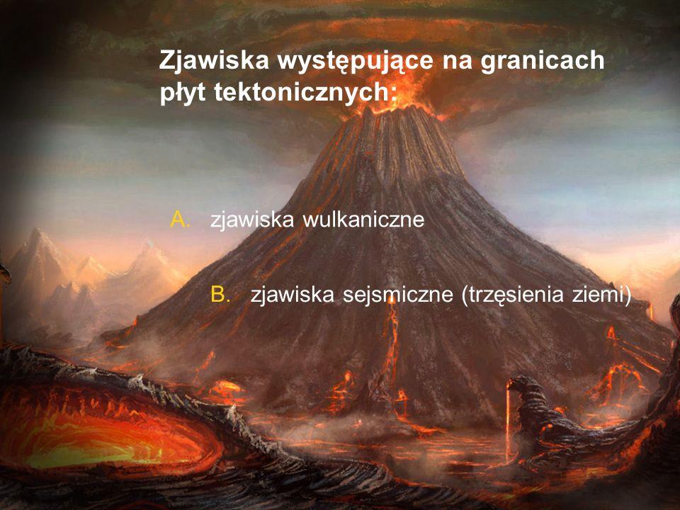 Zjawiska występujące na granicach płyt tektonicznych: