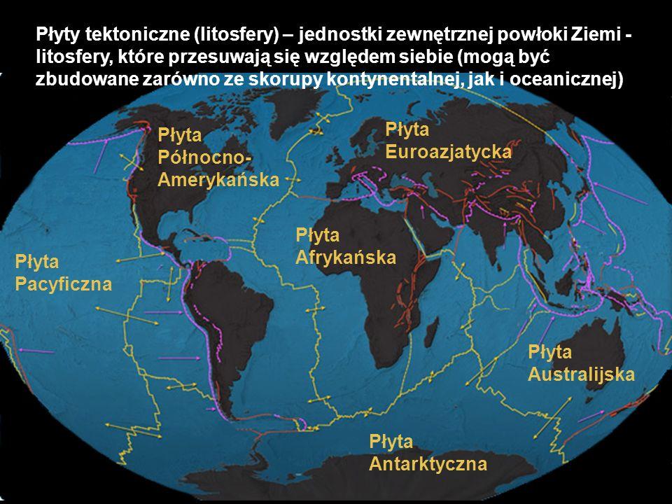 Płyty tektoniczne (litosfery) – jednostki zewnętrznej powłoki Ziemi - litosfery, które przesuwają się względem siebie (mogą być zbudowane zarówno ze skorupy kontynentalnej, jak i oceanicznej)