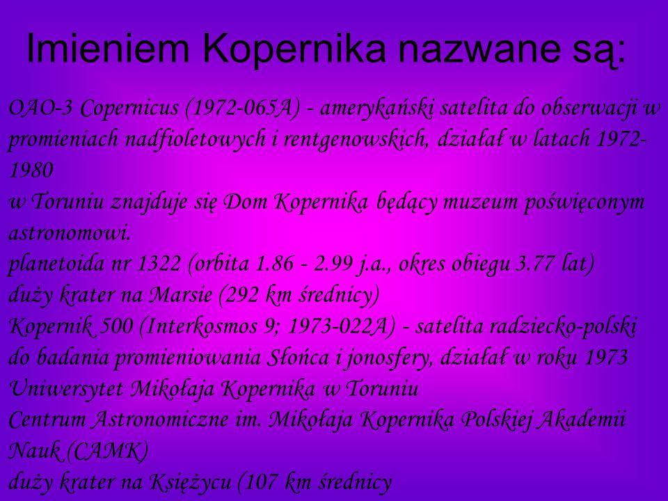 Imieniem Kopernika nazwane są: