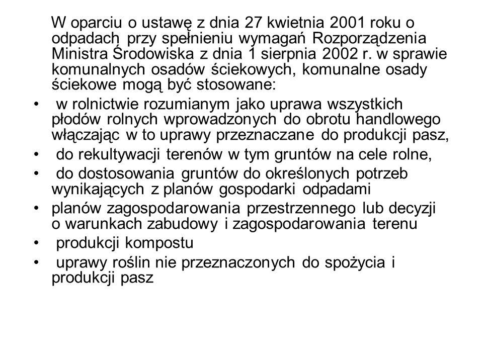 W oparciu o ustawę z dnia 27 kwietnia 2001 roku o odpadach przy spełnieniu wymagań Rozporządzenia Ministra Środowiska z dnia 1 sierpnia 2002 r. w sprawie komunalnych osadów ściekowych, komunalne osady ściekowe mogą być stosowane:
