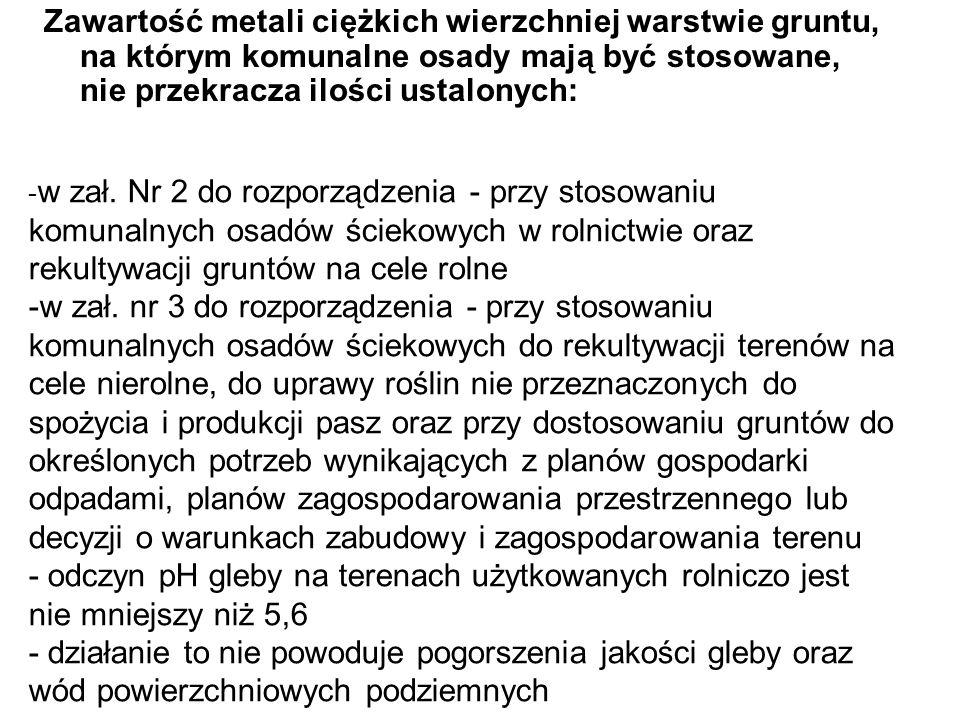 Zawartość metali ciężkich wierzchniej warstwie gruntu, na którym komunalne osady mają być stosowane, nie przekracza ilości ustalonych: