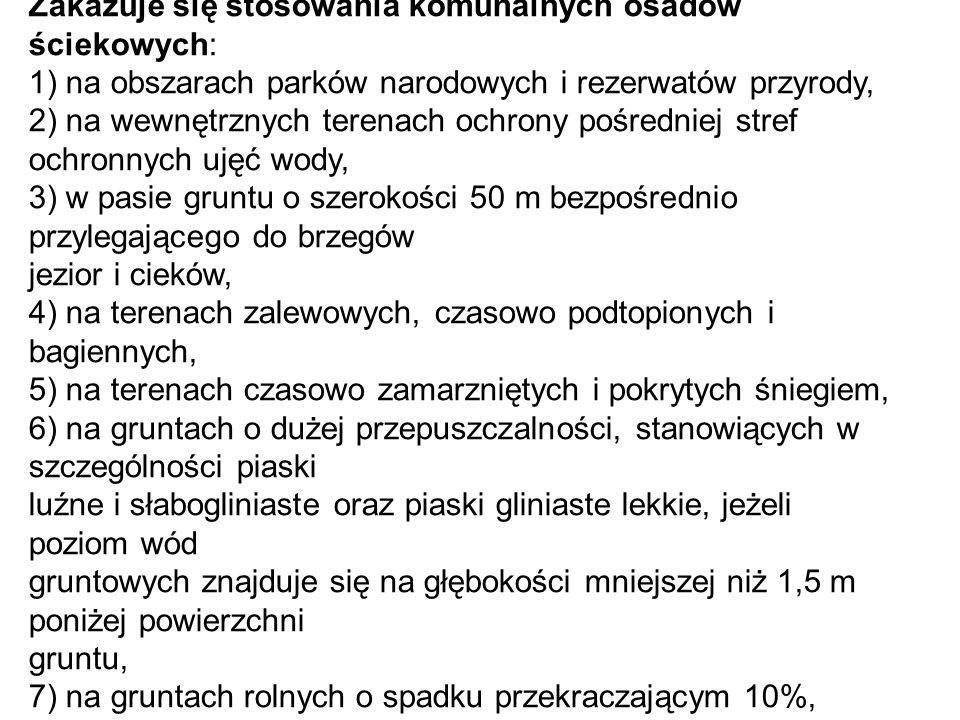Zakazuje się stosowania komunalnych osadów ściekowych: