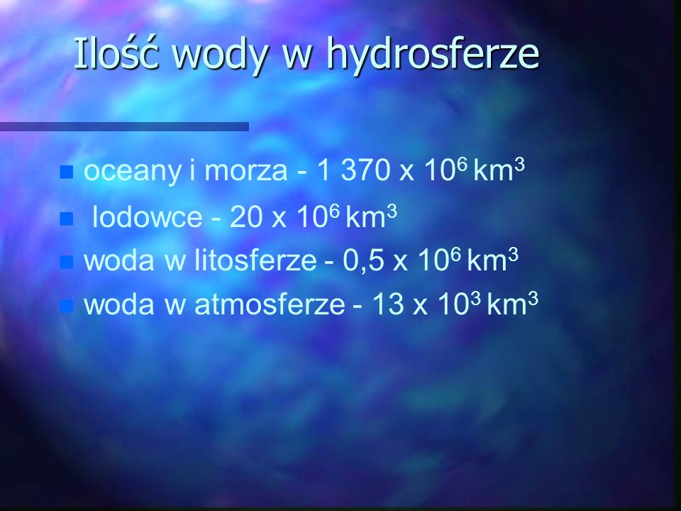 Ilość wody w hydrosferze